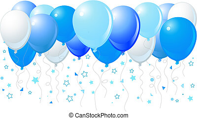 Blue balloons flying up - Vector illustration of the bunch...