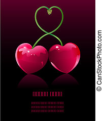 Cherry love - Two Cherry hearts and cherry sticks shows a...