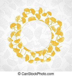 Floral background with yellow gingko leaves and place for...