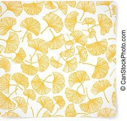 Floral background with yellow gingko leaves