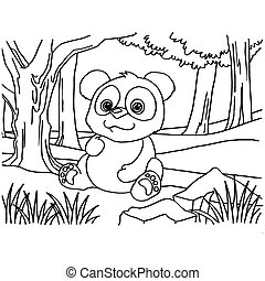 Giant panda coloring pages vector - image of Giant panda...