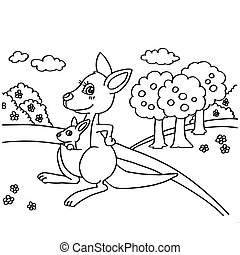Kangaroo Coloring Pages vector - image of Kangaroo Coloring...