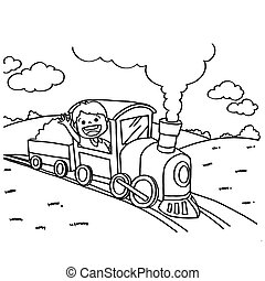 Train Coloring Pages vector - image of Train Coloring Pages...