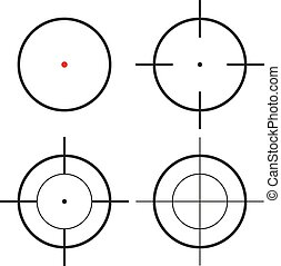 Collection of 4 isolated round crosshairs