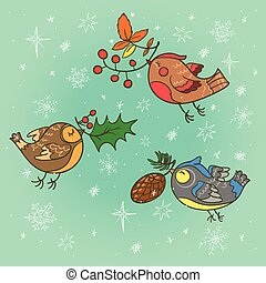 Christmas card with birds - Hand drawn Christmas card with...