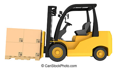 Forklift truck with boxes on wooden pallet. Isolated on...