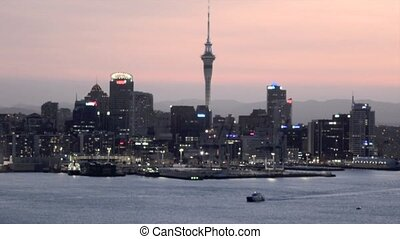 Auckland cityscape at sunset - Auckland downtown skyline...