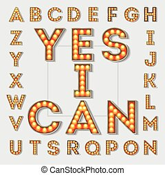 Vintage light bulb letters. - Vector vintage light bulb...