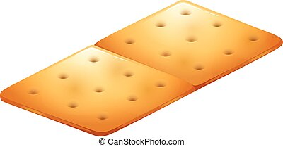 Butter cracker on white illustration