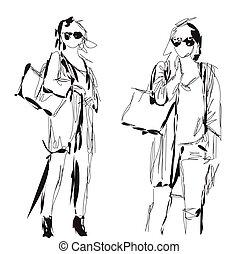 Fashion models. Sketch. Cartoon woman. Fashion girl.