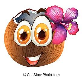 Clipart vecteur de amusement mignon noix coco dessin - Dessin noix de coco ...