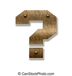Rusty metal question mark. Alphabet isolated on white background