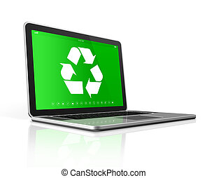 Laptop with a recycle symbol on screen. environmental conservation concept