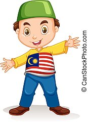 Malaysian boy wearing shirt and pants illustration