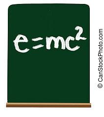 E=mc2 - Formula of e=mc2 on school green chalkboard