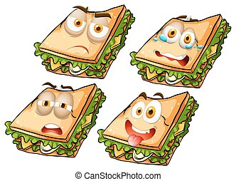 Sandwich with facial expressions