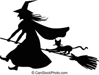 Witch and cat flying on broom - Vector illustrations of...