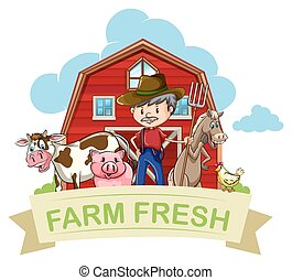 Farmer and farm animals with banner