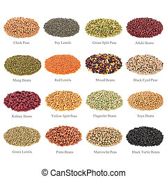 Pulses Collection with Titles - Dried pulses collection with...