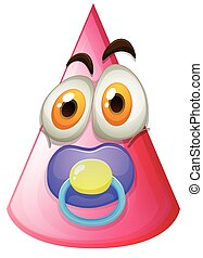 Pink cone with baby face illustration