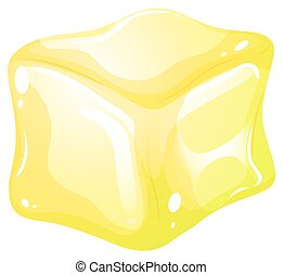 Yellow ice cube illustration