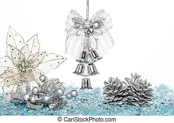 Luxury Silver jingle Bells, flower and Pine Cone on Snow,...