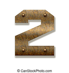 Old rusty metal of number two on white background