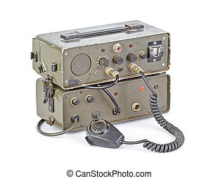 dark green amateur ham radio on white background - old dark...