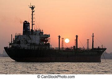 Ship in Mumbai - Ship at the harbor of Mumbai, India