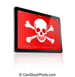 digital tablet PC with a pirate symbol on screen. Hacking...