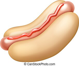 Hotdog with Ketchup Illustration