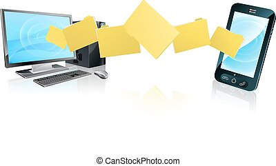 Computer phone file transfer concept of files or folders...