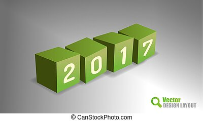 2017 PF Cubes - Four cubes as 2017 playfull symbols. Vector...