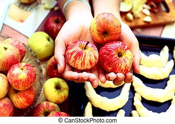 成熟,  croissant, 蘋果, 背景, 手, 新鮮