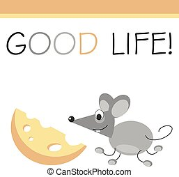 Post card mouse and cheese Vector illustration