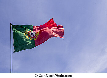Portugal National Flag waving in the wind