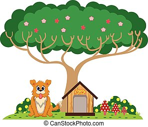 Dog and house under the tree