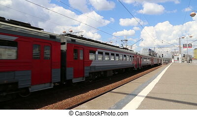 Train on Moscow passenger platform (Savelovsky railway...