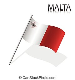 Realistic Maltese flag, vector illustration