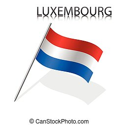 Realistic Luxembourg flag, vector illustration