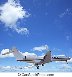 Private jet in a sky. Square composition.