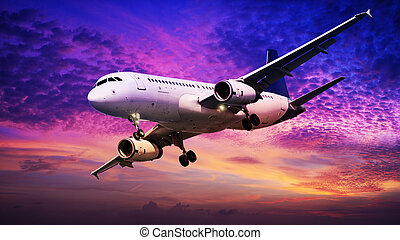 Jet is maneuvering in a sunset sky - Jet is maneuvering in...