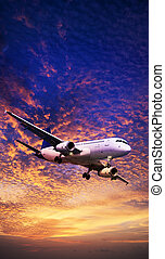 Jet aircraft maneuvering in a sunset sky. Vertical panoramic...