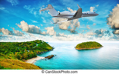 Private jet is leaving tropical resort in the morning. HDR...