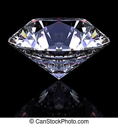 Diamond against black with reflection