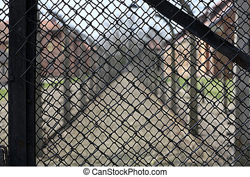 Electric fence in former Nazi concentration camp Auschwitz...
