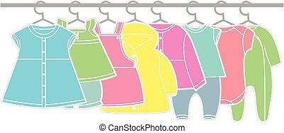 Baby clothes - Set of baby clothes. Clothes sketch for girl.