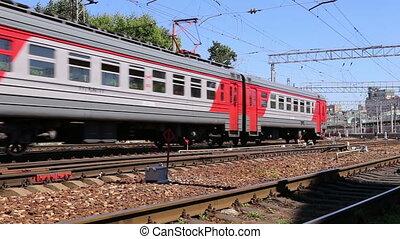 Train on Moscow passenger platform (Belorussky railway...