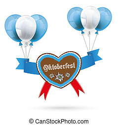 Oktoberfest Gingerbread Heart Red Balloons - Heart with red...