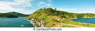 View of Promthep cape. Phuket island, Thailand. Panoramic...